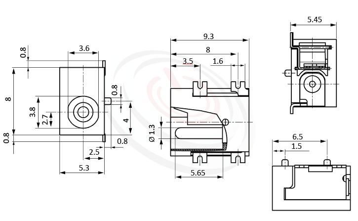 HDC-584系列 尺寸圖 直流電源插座DC JACK ,Center pin Ø1.3 / Ø1.65 mm 中心針 Ø1.3 / Ø1.65 mm ,外圓 孔徑 3.8 ,90度 90° SMD
