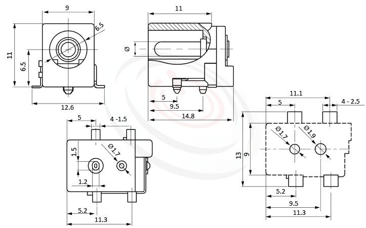 HDC-591系列 尺寸圖 DC電源插座DC JACK ,Center pin Ø2.0 / Ø2.5 / Ø3.0 mm 中心針 Ø2.0 / Ø2.5 / Ø3.0 mm ,外圓 孔徑 6.5 ,90度 90° SMD