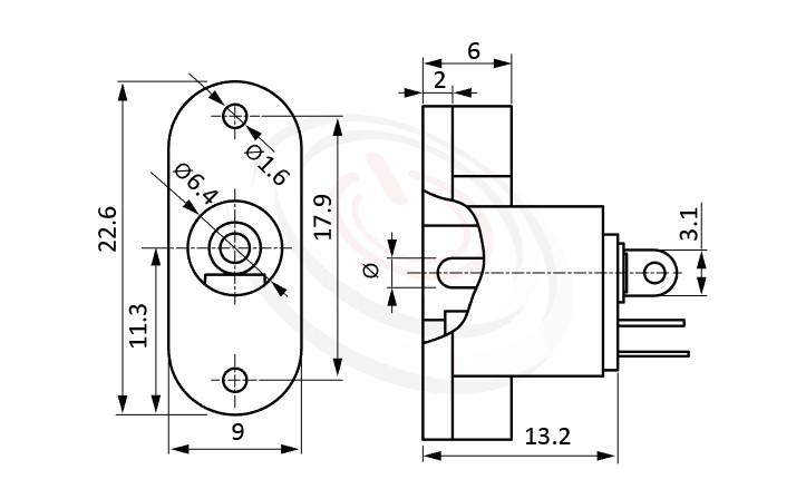 HDC-620系列 尺寸圖 DC電源插座DC JACK ,Center pin Ø2.0 / Ø2.5 mm 中心針 Ø2.0 / Ø2.5 mm ,外圓 孔徑 6.4 ,180度 180° DIP