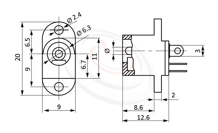 HDC-621系列 尺寸圖 DC電源插座DC POWER JACK ,Center pin Ø2.0 / Ø2.5 mm 中心針 Ø2.0 / Ø2.5 mm ,外圓 孔徑 6.3 ,180度 180° DIP