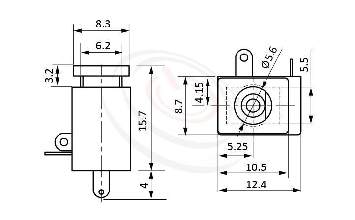 HDC-624系列 尺寸圖 直流電源插座DC POWER JACK ,Center pin Ø2.0 / Ø2.5 mm 中心針 Ø2.0 / Ø2.5 mm ,外圓 孔徑 5.6 ,90度 90° DIP