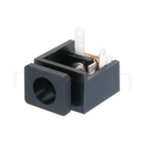HDC-624 系列-DC電源插座DC POWER JACK ,90度 90° DIP ,Center pin Ø2.0 / Ø2.5 mm 中心針 Ø2.0 / Ø2.5 mm ,外圓 孔徑 5.6 ,L 16x W 12.5 x H 9 ,板上高度 9mm
