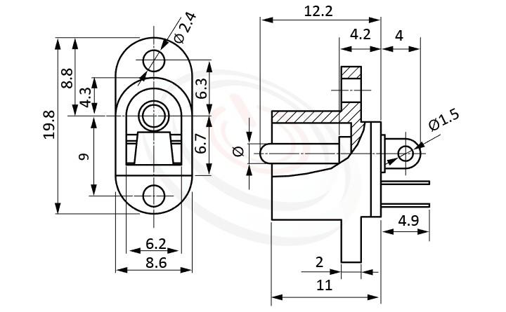 HDC-626系列 尺寸圖 DC電源插座DC POWER JACK ,Center pin Ø2.0 / Ø2.35 / Ø2.5 mm 中心針 Ø2.0 / Ø2.35 / Ø2.5 mm,180度 180° DIP