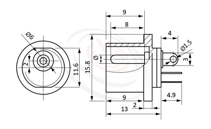 HDC-633系列 尺寸圖 DC電源插座DC JACK ,Center pin Ø2.0 / Ø2.5 mm 中心針 Ø2.0 / Ø2.5 mm ,外圓 孔徑 6 ,180度 180° DIP