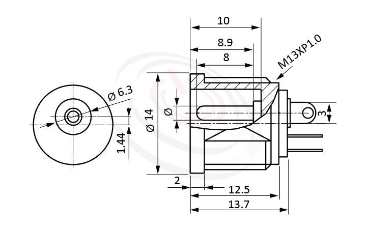 HDC-634系列 尺寸圖 直流電源插座DC POWER JACK ,Center pin Ø2.0 / Ø2.5 mm 中心針 Ø2.0 / Ø2.5 mm ,外圓 孔徑 6.3 ,180度 180° DIP
