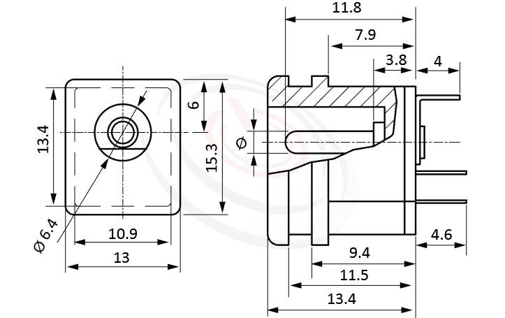HDC-636系列 尺寸圖 DC電源插座DC POWER JACK ,Center pin Ø2.0 / Ø2.5 / Ø3.0 mm 中心針 Ø2.0 / Ø2.5 / Ø3.0 mm ,外圓 孔徑 6.4 ,180度 180° DIP