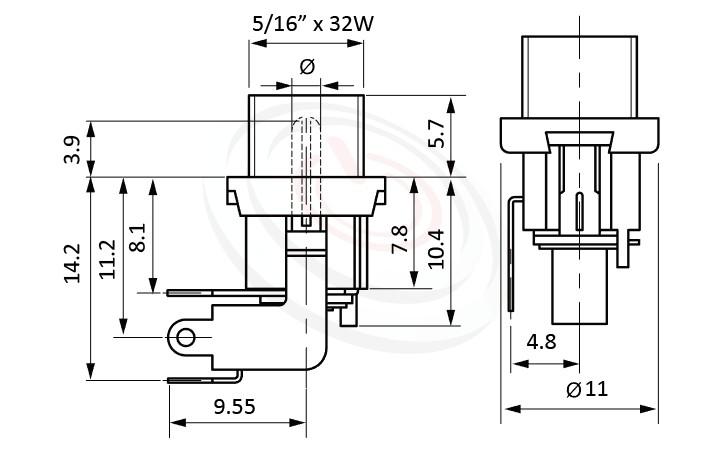 HDC-667系列 尺寸圖 DC電源插座DC JACK ,Center pin Ø2.0 / Ø2.5 mm 中心針 Ø2.0 / Ø2.5 mm ,外圓 孔徑 5.7 ,90度 90°