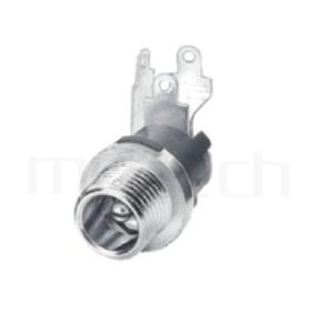 HDC-667 系列-直流電源插座DC JACK ,90度 90° DIP ,Center pin Ø2.0 / Ø2.5 mm 中心針 Ø2.0 / Ø2.5 mm ,外圓 孔徑 5.7 ,L 16 Ø11 ,螺牙外徑Ø8