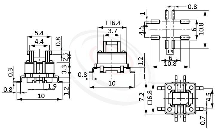 HFD-415TP系列 尺寸圖 雙色LED輕觸開關LED Tact Switch ,5.4x3.7 按鍵面 ,尺寸 6.4x6.4,版上高度7mm ,無鍵帽,立式,SMD ,8PIN,雙色