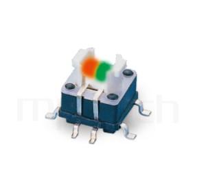 HFD-415TP 系列-帶燈開關 Illuminated Pushbuttons ,無鍵帽,立式,SMD ,8PIN,雙色 ,尺寸 6.4x6.4,版上高度7mm ,5.4x3.7 按鍵面
