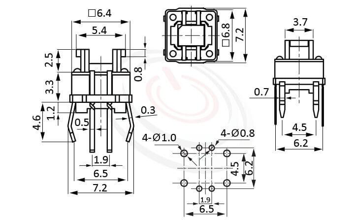 HFD-615TP系列 尺寸圖 LED輕觸開關LED Tact Switch ,5.4x3.7 按鍵面 ,尺寸 6.4x6.4,版上高度7mm ,無鍵帽,立式,DIP ,8PIN,雙色