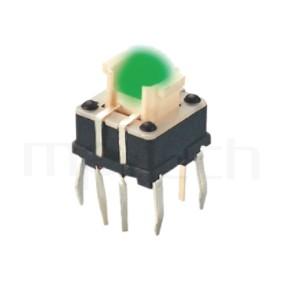 HFD-615TP 系列-LED輕觸開關LED Tact Switch ,無鍵帽,立式,DIP ,8PIN,雙色 ,尺寸 6.4x6.4,版上高度7mm ,5.4x3.7 按鍵面