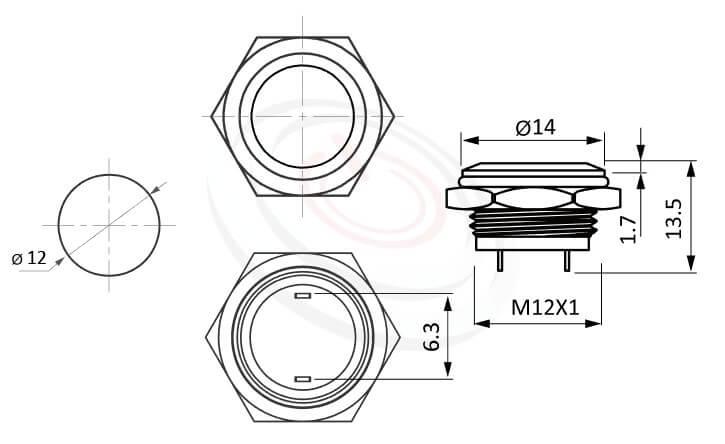 MP12T-2MF Series概略尺寸圖,標示金屬按鈕的外型長度,超短,平鈕,1NO,薄、短、矮、扁,平圓型,一組常開接點1NO,|防水、防塵,薄、短,孔徑12mm,一組常開接點1NO,自複,平圓型,金屬材質,面板外徑14mm 平面按鈕容易清潔 | MP16TECH提供您最完整的防水金屬按鈕開關產品與服務