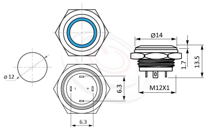 MP12T-4MF Series概略尺寸圖,標示照光金屬開關的外型長度,薄型,平柄,一組常開接點1NO,照光LED金屬開關,開孔Φ12mm,面板外徑14mm 耐腐蝕金屬,化學環境適用   MP16TECH提供您最完整的防水金屬按鈕開關產品與服務