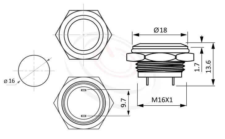 MP16T-2MF Series概略尺寸圖,標示不鏽鋼防水金屬按鍵的外型長度,薄型,平頭,1NO常開接點-IP65以上防水等級,GQ16,LAS2GQ,pbm16,cmp,bpb,J16,MPB16,HK16B,HKYB16B,mp16n,ft-16,lb16b,qn16不帶燈金屬外殼電源按鈕,材質-金屬殼,不銹鋼SUS,銅,鋁合金