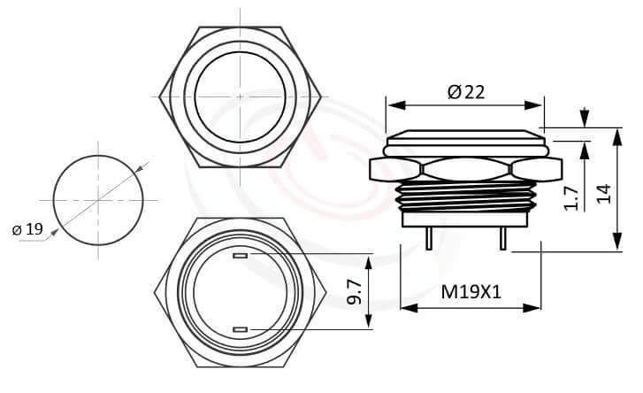 MP19T-2MF Series概略尺寸圖,標示防水按鈕開關的外型長度,輕薄短小,平柄,1NO,金屬材質按鍵可對應於J19,MPB19,MPS19,MW19,HK19B,HKYB19B,EJ19,GQ19,LAS1-BGQ,LAS1-AGQ,LAS1GQ,lb19b,qn19,pbm19,cmp,bpb,mp19n,ft-19,材質-SUS不鏽鋼,黃銅,鋁殼,復位無段-IP65以上防水等級,不鏽鋼防水金屬按鍵,標示開關開孔安裝尺寸,各細部尺寸