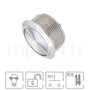MP19T-2MF Series-薄形金屬按鈕開關 小型,防水、防塵,超薄,Φ19 開孔尺寸,一組常開接點1NO,復歸,平面,無燈,自復位,平柄,不鏽鋼金屬無燈,-IP65以上防水等級  MP16TECH提供您最完整的防水金屬按鈕開關產品與服務