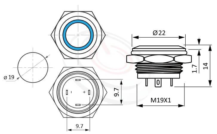 MP19T-4MF Series概略尺寸圖,標示極短款,LED照光金屬開關,平圓形,1NO一組常開接點,無極性,正反都可接的外型長度,薄、短,平圓型,一組常開接點1NO 防水、防塵、耐腐蝕,可對照J19,EJ19,pbm19,cmp,bpb,GQ19,LAS1-BGQ,LAS1-AGQ,LAS1GQ,mp19n,ft-19,lb19b,MPB19,MPS19,MW19,HK19B,HKYB19B,qn19,平鈕,材質-不鏽鋼SUS,金屬外殼