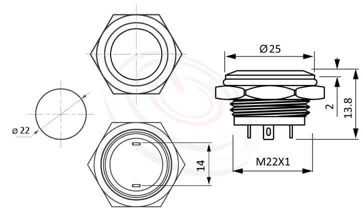 MP22T-2MF Series概略尺寸圖,標示薄、扁、短,平柄,防水按鍵押扣按鈕的外型長度,thin type,平頭,1NO常開接點 防塵防水防化學腐蝕,同等於GQ22,pbm22,cmp,bpb,KPB22,MPB22,MPS22,MW22,HK22B,HKYB22B,mp22n,ft-22,J22,EJ22,lb22b,qn22金屬按鈕按鍵,材質-鋁合金,不鏽鋼,黃銅