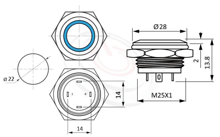 MP22T-4MF Series概略尺寸圖,標示極短款照光式金屬按鈕的外型長度,thin type,平圓型,1NO,內建LED限流電阻的外型長度,常開接點 防水、防塵、耐腐蝕,可對應J22,EJ22,GQ22,KPB22,MPB22,MPS22,MW22,HK22B,HKYB22B,pbm22,cmp,bpb,mp22n,ft-22,lb22b,qn22平頭,材質-SUS不鏽鋼,黃銅,鋁殼