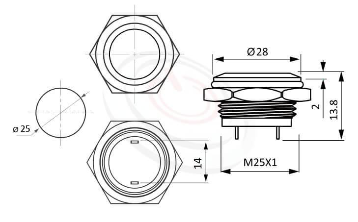MP25T-2MF Series概略尺寸圖,標示短款超薄型防水金屬按鈕,電源金屬按鍵的外型長度,薄、扁、短,平柄,1NO 防水、防破壞、耐腐蝕,對照於pbm25,cmp,bpb,mp25n,KPB25,MPB25,MPS25,MW25,HK25B,HKYB25B,ft-25,GQ25,J25,EJ25,lb25b,qn25金屬電源開關,材質-SUS,鋁合金,金屬外殼