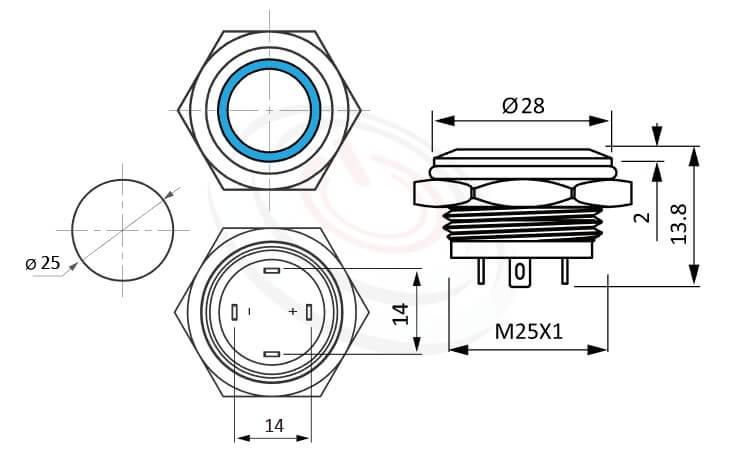 MP25T-4MF Series概略尺寸圖,標示LED照光金屬開關,無極性,正反都可接的外型長度,超短,平面,1NO防水、防破壞、耐腐蝕,可對照pbm25,cmp,bpb,GQ25,mp25n,KPB25,MPB25,MPS25,MW25,HK25B,HKYB25B,ft-25,lb25b,qn25,J25,EJ25平面,材質-黃銅鍍鎳,不鏽鋼,鋁合金