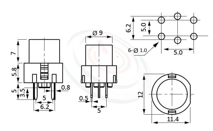 PB-210系列 尺寸圖 LED輕觸開關LED Tact Switch ,12X11.4 圓形帽蓋 ,尺寸 12X12 , 版上高度12.8mm ,圓形鍵帽,立式,DIP ,小型帶燈