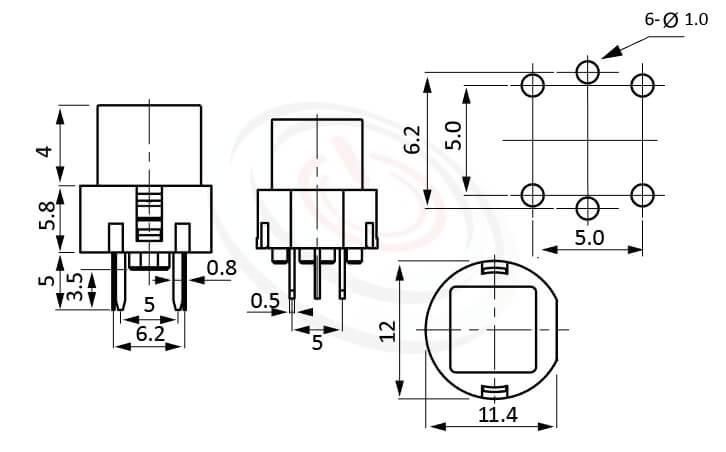 PB-211系列 尺寸圖 帶燈按鈕開關LED Pushbutton Switch ,12X11.4 方形帽蓋 ,尺寸 12X12 , 版上高度9.8mm ,方形鍵帽,立式,DIP ,小型帶燈