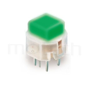 PB-211 系列-輕觸帶燈開關Illuminated Switch ,方形鍵帽,立式,DIP ,小型帶燈 ,尺寸 12X12 , 版上高度9.8mm ,12X11.4 方形帽蓋