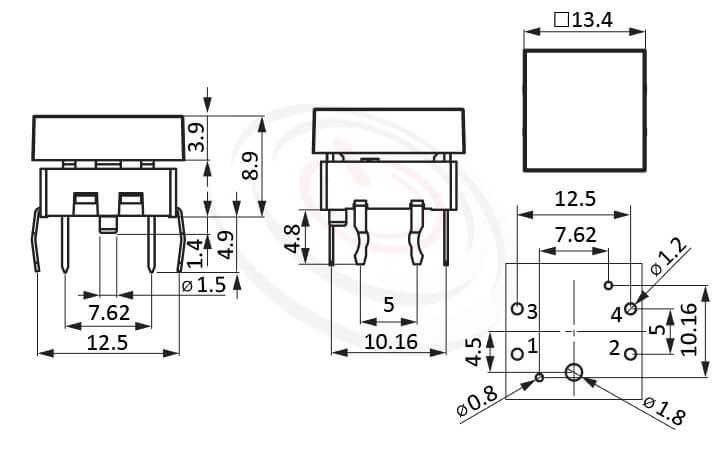 PB-212+CAP系列 尺寸圖 帶燈開關 Illuminated Pushbuttons ,13.4X13.4正方形帽蓋 ,尺寸 13.4X13.4 , 版上高度8.9mm ,方形鍵帽,立式,DIP ,全平面照光,另有色蓋可搭配