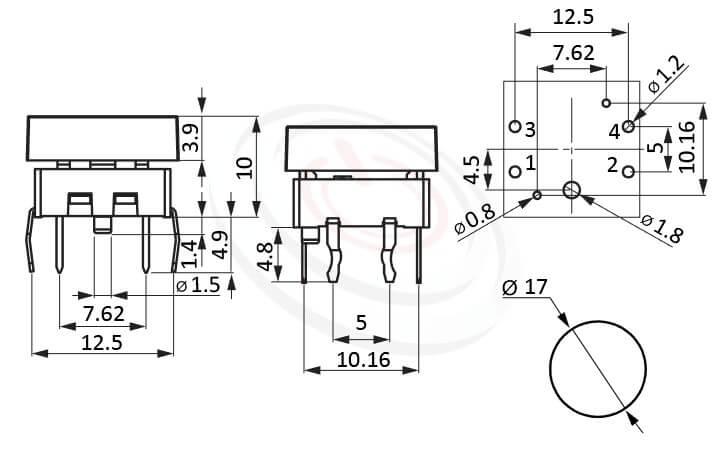 PB-215+CAP系列 尺寸圖 帶燈開關 Illuminated Pushbuttons ,Φ17 帽蓋 17mm鍵帽 ,尺寸 Φ17鍵帽 17mm帽蓋, 版上高度10mm ,圓形鍵帽,立式,DIP ,全平面照光,另有色蓋可搭配