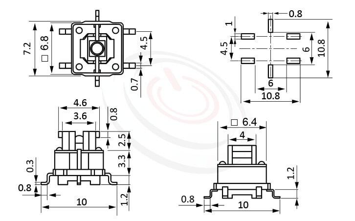 PB-414系列 尺寸圖 帶燈開關 Illuminated Pushbuttons ,4x3.6 按鍵面 ,尺寸 6.8X6.8 ,版上高度7mm ,無鍵帽,立式,SMD ,可搭配帽蓋