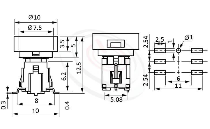 PB-415-1T系列 尺寸圖 帶燈輕觸按鈕開關Illuminated Push Button ,Φ10 帽蓋 10mm鍵帽 ,尺寸 6X6 ,版上高度12.5mm ,圓形鍵帽,立式,SMD ,帶燈圓形帽蓋