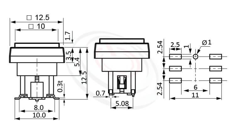 PB-415-441B系列 尺寸圖 帶燈輕觸開關LED Tact Switch ,12.5X12.5正方形帽蓋框,10X10正方形按鍵面 ,尺寸 6X6 ,版上高度12.5mm ,方形鍵帽,立式,SMD ,帶燈方形帽蓋