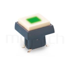 PB-415-441B 系列-帶燈開關 Illuminated Pushbuttons ,方形鍵帽,立式,SMD ,帶燈方形帽蓋 ,尺寸 6X6 ,版上高度12.5mm ,12.5X12.5正方形帽蓋框,10X10正方形按鍵面