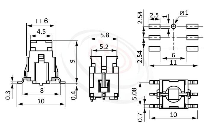 PB-415系列 尺寸圖 帶燈輕觸按鈕開關Illuminated Push Button ,5.2x4.5 按鍵面 ,尺寸 6X6 ,版上高度9mm ,無鍵帽,立式,SMD ,可搭配帽蓋