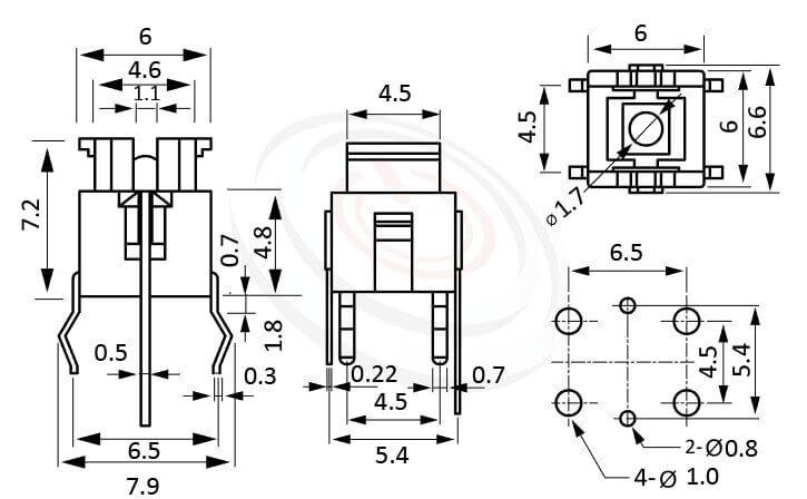 PB-506系列 尺寸圖 帶燈開關 Illuminated Pushbuttons ,6x4.5 按鍵面 ,尺寸 6x6,版上高度7.2mm ,無鍵帽,立式,DIP ,可搭配帽蓋
