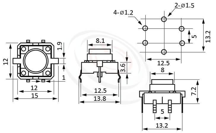 PB-512系列 尺寸圖 帶燈輕觸按鈕開關Illuminated Push Button ,Φ8 按鍵面 ,尺寸 12x12,版上高度7.2mm ,圓形按柄,立式,DIP ,帶燈圓形帽蓋