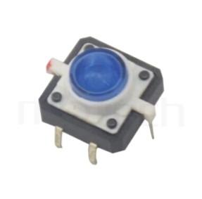 PB-512 系列-帶燈輕觸開關LED Tact Switch ,圓形按柄,立式,DIP ,帶燈圓形帽蓋 ,尺寸 12x12,版上高度7.2mm ,Φ8 按鍵面