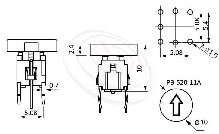 PB-520-11A系列 尺寸圖 LED輕觸開關LED Tact Switch ,双色雙色輕觸開關LED tact switch,紅藍雙色LED,紅綠雙色LED,輕觸LED按鈕,Φ10 帽蓋 10mm鍵帽 ,尺寸 Φ10鍵帽 10mm帽蓋, 6x6,版上高度10mm ,圓形鍵帽,立式,DIP ,7PIN,layout 5.08,5.4