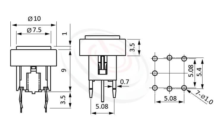 PB-520-243B系列 尺寸圖 LED輕觸開關LED Tact Switch ,Φ10 帽蓋框,Φ7.5按鍵面 ,尺寸 6x6,版上高度10mm ,圓形鍵帽加框,立式,DIP ,7PIN,layout 5.08,5.4