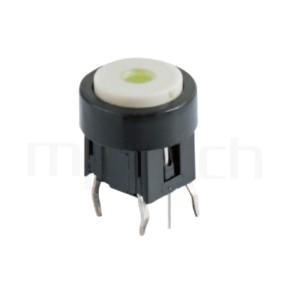PB-520-243B 系列-帶燈開關 Illuminated Pushbuttons ,圓形鍵帽加框,立式,DIP ,7PIN,layout 5.08,5.4 ,尺寸 6x6,版上高度10mm ,Φ10 帽蓋框,Φ7.5按鍵面