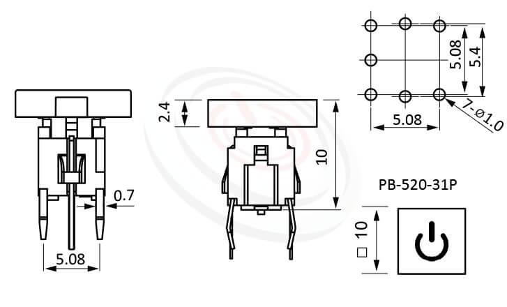 PB-520-31P系列 尺寸圖 輕觸帶燈開關Illuminated Switch ,10x10 正方形鍵帽 ,尺寸 10mm正方型帽蓋, 6x6,版上高度10mm ,方形鍵帽,立式,DIP ,7PIN,layout 5.08,5.4