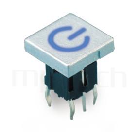 PB-520-31P 系列-帶燈輕觸按鈕開關Illuminated Push Button ,方形鍵帽,双色雙色輕觸開關LED tact switch,紅藍雙色LED,紅綠雙色LED,輕觸LED按鈕,立式,DIP ,7PIN,layout 5.08,5.4 ,尺寸 10mm正方型帽蓋, 6x6,版上高度10mm ,10x10 正方形鍵帽