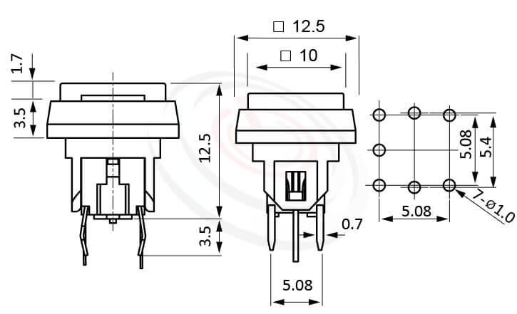 PB-520-3T1B系列 尺寸圖 帶燈輕觸按鈕開關Illuminated Push Button ,12.5x12.5 正方形鍵帽 ,尺寸 6x6,版上高度12.5mm ,方形鍵帽加框,立式,DIP ,7PIN,layout 5.08,5.4