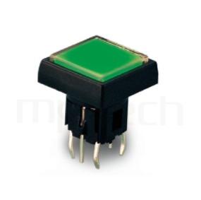 PB-520-3T1B 系列-帶燈開關 Illuminated Pushbuttons ,方形鍵帽加框,双色雙色輕觸開關LED tact switch,紅藍雙色LED,紅綠雙色LED,輕觸LED按鈕,立式,DIP ,7PIN,layout 5.08,5.4 ,尺寸 6x6,版上高度12.5mm ,12.5x12.5 正方形鍵帽
