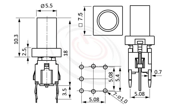PB-520-61R系列 尺寸圖 輕觸帶燈開關Illuminated Switch ,10.3長鍵帽, 圓柱形長帽蓋 ,尺寸 6x6,版上高度18mm ,圓柱形長鍵帽,立式,DIP ,7PIN,layout 5.08,5.4