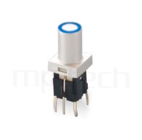 PB-520-61R 系列-帶燈輕觸按鈕開關Illuminated Push Button ,双色雙色輕觸開關LED tact switch,紅藍雙色LED,紅綠雙色LED,輕觸LED按鈕,圓柱形長鍵帽,立式,DIP ,7PIN,layout 5.08,5.4 ,尺寸 6x6,版上高度18mm ,10.3長鍵帽, 圓柱形長帽蓋