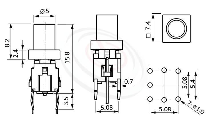 PB-520-64系列 尺寸圖 帶燈輕觸開關LED Tact Switch ,8.2長鍵帽, 圓柱形帽蓋 ,尺寸 6x6,版上高度15.8mm ,圓柱形鍵帽,立式,DIP ,7PIN,layout 5.08,5.4