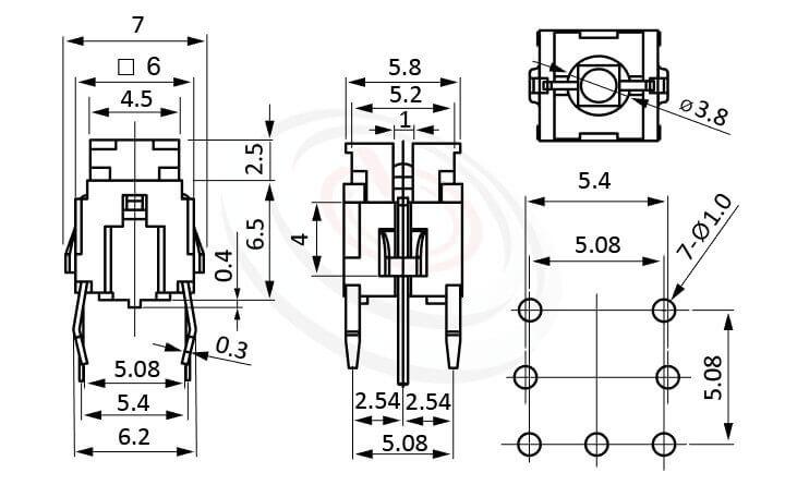 PB-520系列 尺寸圖 帶燈輕觸開關LED Tact Switch ,5.8x4.5 按鍵面 ,双色雙色輕觸開關LED tact switch,紅藍雙色LED,紅綠雙色LED,輕觸LED按鈕,尺寸 6x6,版上高度9.5mm ,無鍵帽,立式,DIP ,7PIN,layout 5.08,5.4